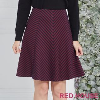 【RED HOUSE 蕾赫斯】條紋剪裁裙(紅色)