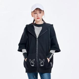 【PLAYBOY】鏤空兔頭短袖外套(黑色)/