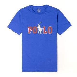 【RALPH LAUREN】Polo Ralph Lauren 年度熱銷印刷文字大馬系列短袖T恤-藍色