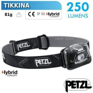 【PETZL】TIKKINA 超輕量戶外頭燈/250流明.IPX4防水.LED頭燈(E091DA00 黑)