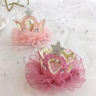 【橘魔法】立體蕾絲皇冠公主髮夾(公主髮夾 髮飾 髮夾 兒童髮飾 花童 婚禮)