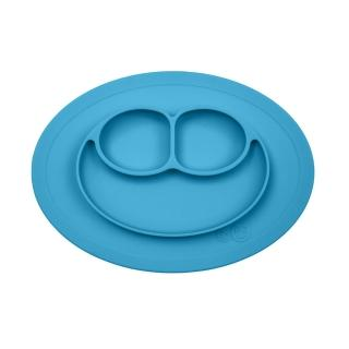 【美國ezpz】mini mat迷你餐盤+餐墊:寶石藍(FDA認證矽膠、防掀倒寶寶餐具)
