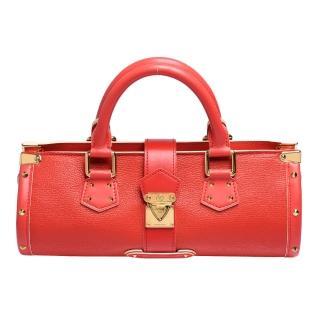 【Louis Vuitton 路易威登】M91853 經典L'Epanoui suhali系列山羊皮鉚釘金色壓釦手提包(火鶴紅)