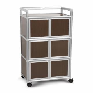 【Cabini 小飛象】黑桃木2.0尺鋁合金6門收納櫃64.7x50.8x115.3cm