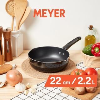 【MEYER 美亞】天然礦石超耐磨不沾小炒鍋22CM(輕巧耐磨 煎煮炒炸多用鍋)