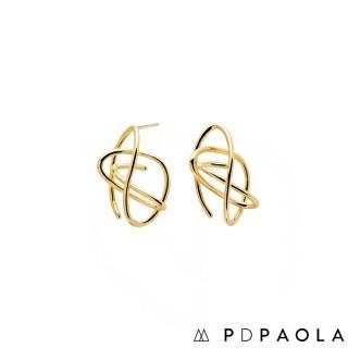 【PDPAOLA】西班牙精品 ESHA 幾何層次圓圈鍍18K金耳環