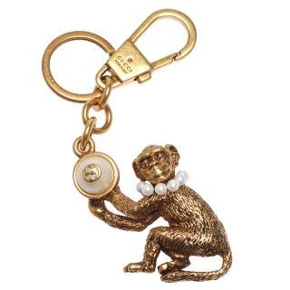 【GUCCI 古馳】品牌雙G LOGO猴子造型珍珠鑲嵌鑰匙圈/手袋吊飾(431699-I4620-8078)