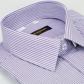 【金安德森】紫色條紋窄版長袖襯衫-fast