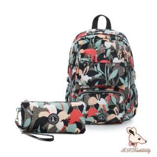 【冰山袋鼠】楓糖瑪芝-大容量附插袋後背包+零錢包2件組-熱帶雨林(Z060-1)
