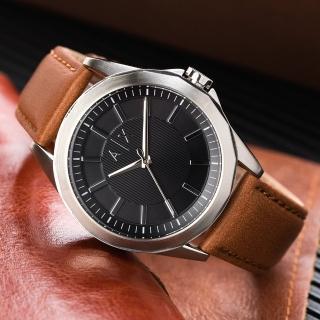【ARMANI EXCHANGE】紳士品格皮革腕錶/ 黑x棕(AX2635)