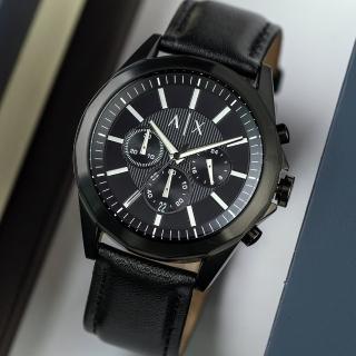 【ARMANI EXCHANGE】紳士沉穩三眼真皮腕錶/ 黑(AX2627)