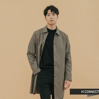 【H:CONNECT】韓國品牌 男裝 -千鳥格紋長板外套(綠色)