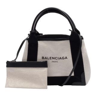 【Balenciaga 巴黎世家】NAVY系列帆布X牛皮飾邊手提/肩背托特包(黑390346-AQ38N-1000)