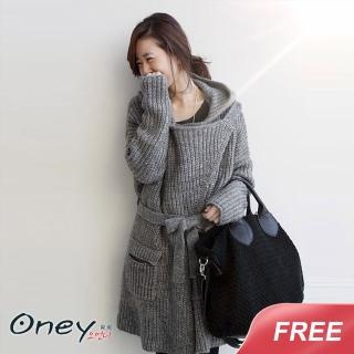 【ONEY 歐妮】現貨 舒適慵懶系針織外套-灰色(FREE SIZE)