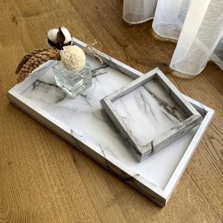 【Bamtor 笨木頭】白大理石貼紋大小組合托盤(置物托盤)