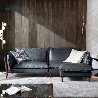 【hoi!】林氏木業簡約內斂頭層牛皮雙色四人座沙發RBN1K + 腳凳B31  深灰色