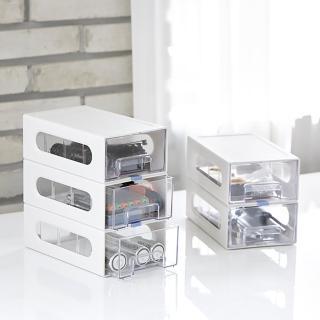 【SYSMAX】〔希思美〕抽屜式收納整理盒 3層3抽/透明抽/淺灰(收納盒/整理盒/桌上收納)