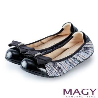 【MAGY】甜美舒適 蝴蝶結鬆緊帶牛皮娃娃鞋(毛呢藍)