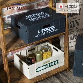 【YAMADA日本山田】日製貨櫃風文字印花可堆疊摺疊收納箱-M(儲物 收納 整理 美式 復古 簡約 質感)