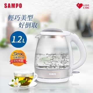 【SAMPO 聲寶】輕巧美型1.2L玻璃快煮壺 KP-CA12G