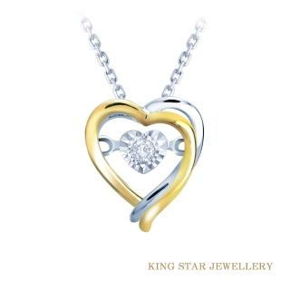 【King Star】雙心鑽石18K金項鍊(心型車花放大款)