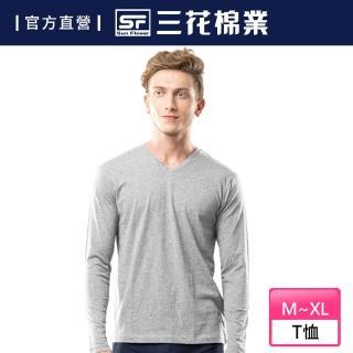 【SunFlower 三花】三花彩色T恤.V領長袖衫.男內衣.男長T恤(中灰)