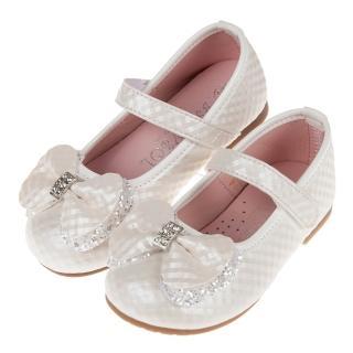【布布童鞋】菱格紋典雅鑽飾蝴蝶結白色兒童公主鞋(K9O997M)