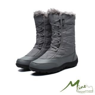 【MINE】機能防水防寒保暖時尚高筒雪靴(灰)