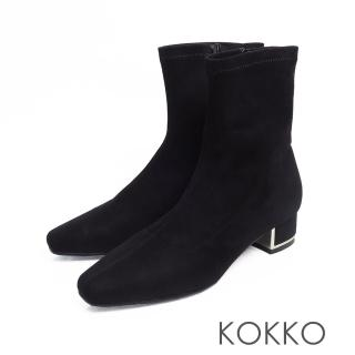 【KOKKO】繁華卡薩布蘭卡金屬跟方頭襪靴(麂皮黑)