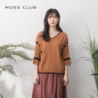 【MOSS CLUB】花瓣袖口質感配色-針織衫(三色)