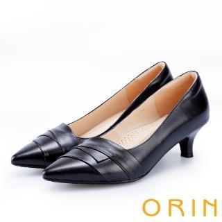 【ORIN】成熟魅力款 造型斜邊羊皮尖頭中跟鞋(黑色)