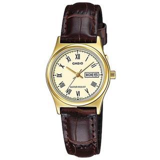 【CASIO 卡西歐】經典金英倫復古指針皮帶女錶-羅馬金面(LTP-V006GL-9B)