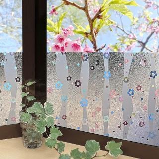 【meiwa】日本製造抗UV節能3D靜電窗貼(亮彩花瓣- 46x100公分)