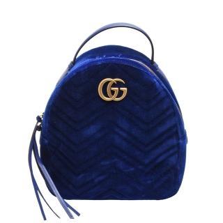 【GUCCI 古馳】GG Marmont絎縫紋天鵝絨金屬雙G LOGO拉鍊手提/後背包(寶藍524568-9QICT-4511)