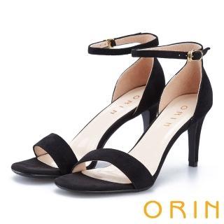 【ORIN】摩登時尚 一字繫踝繞帶後包細高跟鞋(黑色)