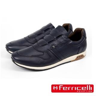 【Ferricelli】R8時尚牛皮運動休閒鞋(深藍色 F852805-DBU)