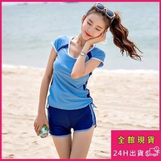 【AS 梨卡】泳衣 泳裝 二件式 保守 加大尺碼 短袖 短褲 氣質甜美四角泳裝CR451