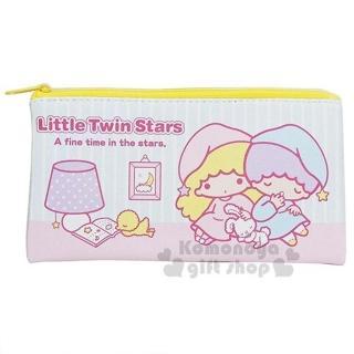 〔小禮堂〕雙子星 皮質扁平拉鍊筆袋《粉藍.坐姿.睡衣》收納包.化妝包.鉛筆盒