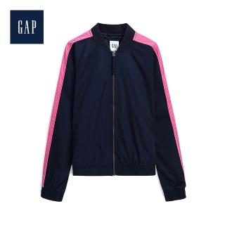 【GAP】女裝 圓領長袖休閒外套(500390-海軍藍色)