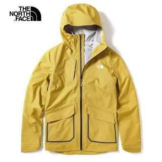 【The North Face】The North Face北面女款黃色防水透氣戶外衝鋒衣|3VSSCZ2