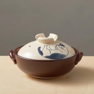 【有種創意食器】日本萬古燒-手繪土鍋8號-貓咪打呼(2.1L)