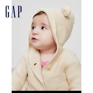 【GAP】男女嬰兒 純棉長袖連帽針織開襟衫 兒童毛衣寶寶上衣(215587-4色可選)