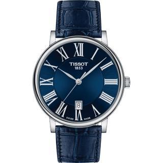 【TISSOT 天梭】Carson 羅馬石英錶-藍/ 40mm(T1224101604300)