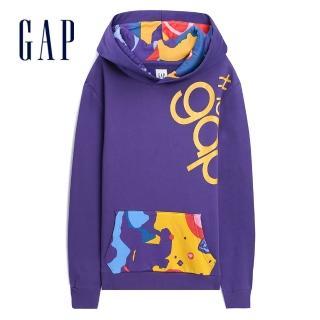 【GAP】男裝 Jolin設計款男女同款長袖套頭連帽休閒上衣(534747-紫色)