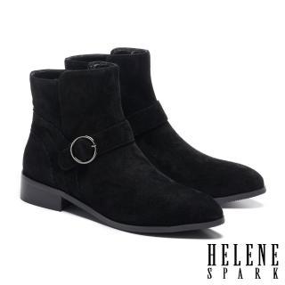 【HELENE SPARK】簡約率性金屬圓釦羊麂皮尖頭低跟短靴(黑)