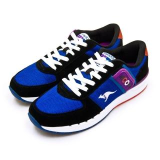 【KangaROOS】男 經典復刻慢跑鞋 COMBAT紅標袋鼠鞋系列(藍黑紫 91036)