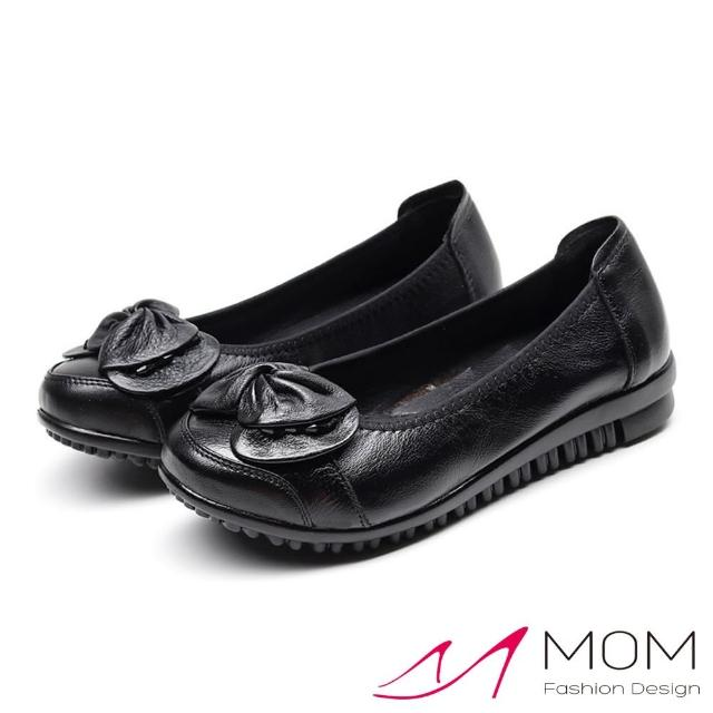 【MOM】真皮頭層牛皮小圓頭扭結可愛蝴蝶結飾軟底舒適單鞋(黑)/