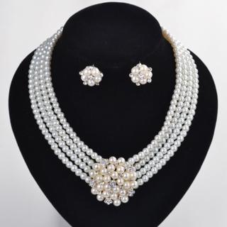 【Angel】高貴純潔無瑕珍珠鋯石婚宴耳環項鍊2件組(白色)