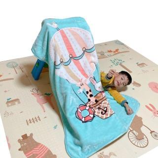 【Leafbaby】兒童房幼兒園可用冬天保暖法蘭雲貂絨兒童蓋毯(歡聚熱氣球)