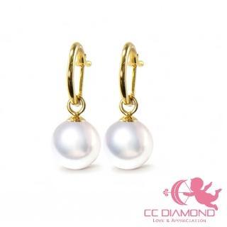 【CC Diamond】日本進口 18K金AKOYA海水珍珠耳環(7-7.5mm)